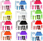 NEON 1980s FANCY DRESS HEN PARTY COSTUMES TUTU SKIRT LEG WARMER GLOVES GUM BEADS