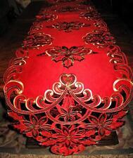 Red Poinsettia Shimmery Gold Sequin Scalloped Christmas Decor Table Runner 69x13