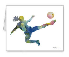 SOCCER PLAYER note cards by watercolor artist DJ Rogers