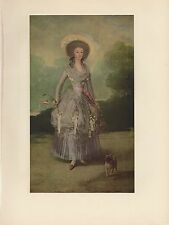 "1954 Vintage GOYA ""THE MARQUESA DE PONTEJOS"" PUG DOG COLOR Art Print Lithograph"