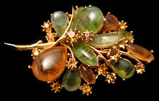 """Rare Vintage 3"""" Signed ART Gold Tone Green Amber Art Glass Leaf Brooch Pin A60"""