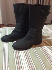 COLE HAAN Nike Air Mid-Calf Black Leather Moto Boots Style D35875 Size 8.5B
