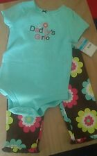 Carter's Baby Daddys Girl Outfit Set Size 24 M NWT NEW Teal/Flowers