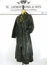 Women's VINTAGE 70s GENUINE LEATHER Black Trench MAC Belted Alexa Mod Coat UK 10