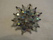 Beautiful Brooch Pin Silver Tone Base Faceted AB Clear Beads 1 3/4 Inch NICE