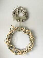 New Country Cottage Chic Shabby White Double Grapevine Wreath w/Ribbon Wall Door