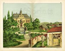 1886 TEMPSKY CHROMOLITHOGRAPH castle, village, farm, barn
