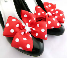 Minnie Mouse Shoe Clips Fancy Dress For Shoes Red White Polkadot Bow Clips PaiR
