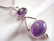 Amethyst Double Gem Oval 925 Sterling Silver Necklace New Imported from India