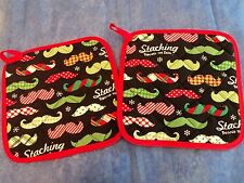 2 Handmade Pot Holders - Colorful Pattern Moustache  - 100% Cotton-Quilted-Lined