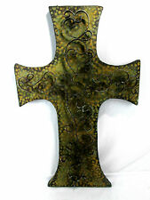 "Large Decorative Cross Cucifix Rustic Hammered Metal Hanging Wall Art 28""x18""x2"""