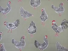 """Clarke et clarke rooster sage poules tissu largeur 137cm/54"""""""