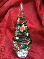 FLAWLESS Exquisite MURANO Italy Clear Glass Millefiori CHRISTMAS TREE Sculpture