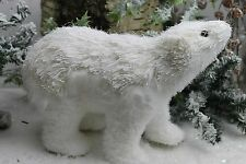 GISELA GRAHAM CHRISTMAS WHITE BRISTLE FUR POLAR BEAR ORNAMENT