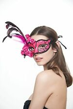 Pink Venetian Costume Masquerade Mask with Feather and Glitter Roses Decor