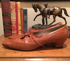 NORDSTROM Camel Tan Leather Lace-Up Victorian Wing Tip Low Heel Oxford 10M Italy