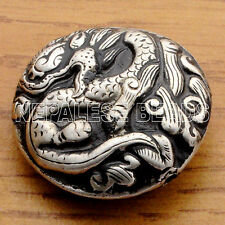 BD2457 Nepalese Repousse Embossed Plain Silver Plated Dragon Focal Bead Nepal