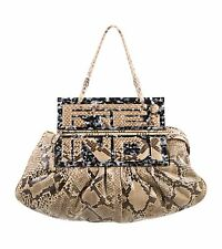 FENDI Brown SNAKESKIN PYTHON SHOW BAG TO YOU HOBO/CLUTCH RETAIL $5,040