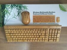 Genuine Keyboard & Mouse Natural Bamboo Wireless Ecological Wooden Compact