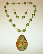 HAND MADE GREEN MOSAIC TURQUOISE NECKLACE W/GLASS PENDANT AND EARRING SET