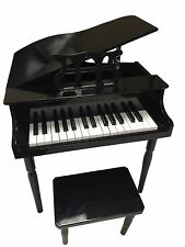 NEW CHILD'S BLACK PIANO BABY GRAND KIDS W/BENCH TOY