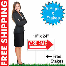 "5 - 10"" x 24"" Yard Sale Directional Yard Signs Corrugated Plastic + FREE Stakes"