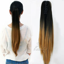 24Inch Clip In Ponytail Hair Extensions Claw On Ombre Synthetic Curly & Straight