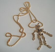 Gold Finish Hip Hop Few Bling   Skeleton  Pendant with Complementary Chain
