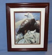1998 SCAFA Tornabene Lithograph - 3D American Bald Eagle & White Wolf - Signed
