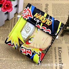 PU short wallet w/ colorful printing of Naruto Uzumaki & Uchiha Sasuke w/ button