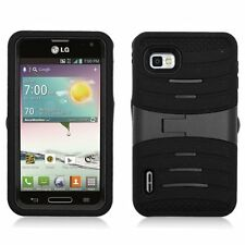 Dual Layer Case with Kickstand for LG Optimus F3 LS720 - Black/Black