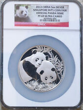 2012 China 5 oz. Silver Panda Singapore Coin Fair NGC PF69  2500 minted