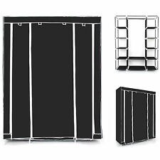 NEW TRIPLE CANVAS WARDROBE HOME BEDROOM DECOR CLOTHES CLOTHING STORAGE WARDROBES