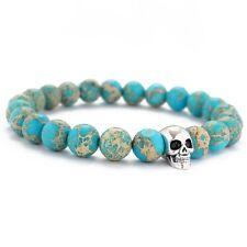 New Fashion Men's Skull Sea Sediment Jasper Gemstone Yoga Energy Beaded Bracelet