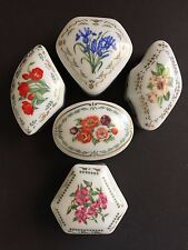 Limoges Trinket Boxes Flowers COLONIAL DAR 1981 5 Boxes