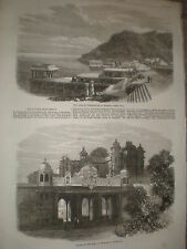 Palace of the Rana Udaipur and Lake Kankrowlee India 1868 old prints ref Z1