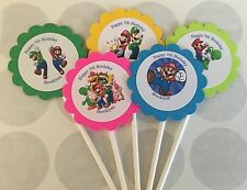 Super Mario Brothers Customized Birthday Cupcake Toppers/Picks 12 count