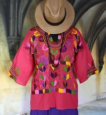 Light Weight Pink Color, Corn Motif hand embroidery Blouse, Mexican Hippie Boho