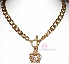 Beauty for Ashes Royal King Queen Crown Crystal Chunky Ring & Toggle Necklace G