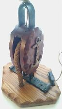 ANTIQUE NAUTICAL WOOD AND STEEL PULLEY TABLE LAMP- HAND FORGED
