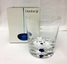 "ORREFORS ""INTERMEZZO BLUE"" DOUBLE OLD FASHION 4"" HIGH CRYSTAL SWEDEN NEW IN BOX"