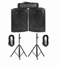 """COMPLETE PRO SOUND PORTABLE PA SYSTEM 4CH MIXER/AMP & TWO 10"""" 2WAY SPEAKERS"""