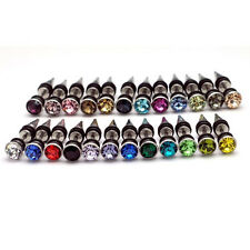 24pairs/lot 7mm Horn Head crystal titanium Cone Tip Punk Unisex stud earrings