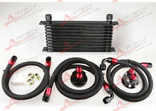 10ROW ALUMINUM ENGINE/TRANSMISSION OIL COOLER+ FILTER RELOCATION KIT + FUEL LINE
