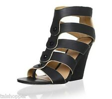 L.A.M.B. by Gwen Stafani Caged Leather Miranda Sandals Wedges Heels NEW 7 $265