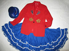 CIRCUS ringmaster red jacket halloween COSTUME size 10 cosplay fantasy hat skirt