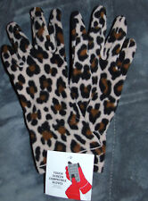 NWT WOMENS LEOPARD  Fleece  Gloves TOUCH SCREEN COMPATIBLE One Size Stretch