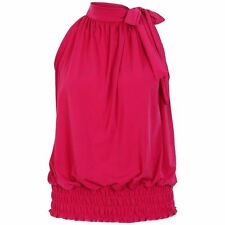S198 Women's Ladies Pleated Coloured Halter Neck Ruched Top Blouse Hot Plus Size