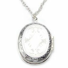 Silver Plated Oval Photo Picture Locket Pendant Necklace 2x1.5""