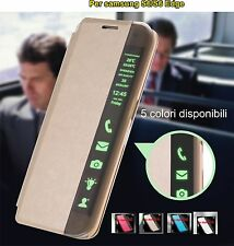 Flip Custodia Clear View Cover luxury Compatibile Samsung Galaxy S6 EDGE plus